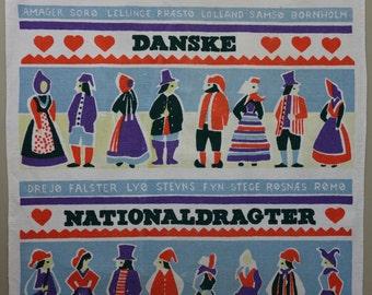 Retro Scandinavian textile 1970s Danish kitchen tea towel regional traditional folk costumes Danske Nationaldragter Indanthren