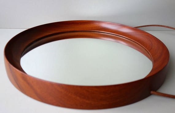 Ronde Houten Spiegel : Prachtig één stuk frame ronde teak houten spiegel houten s etsy