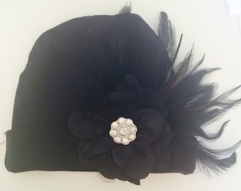 Simply Chic! Black with black feathers & embellishments 3-6 months