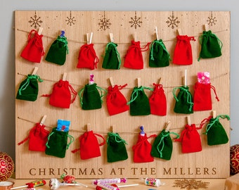 Personalised Oak Christmas Advent Calendar Hanging Board With 24 Red & Green Velvet Bags Wooden Personalised Sweets Chocolate Advent