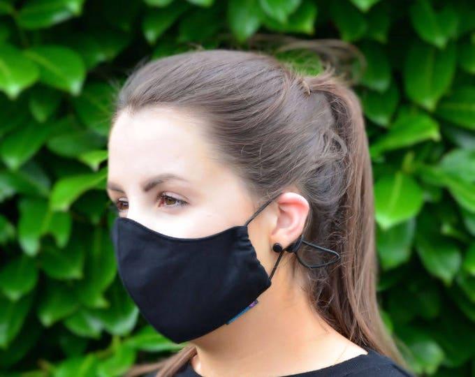MASKERAID® Plain Black Reusable Cotton Canvas Face Mask