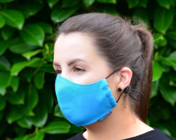 MASKERAID® Turquoise Blue Reusable Cotton Canvas Face Mask