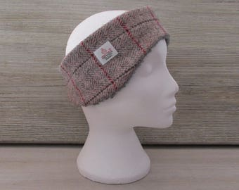 Harris Tweed Pink & Grey Herringbone Luxury Ear Warmer Headband