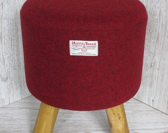 Harris Tweed Wine Red Hand Covered Footstool