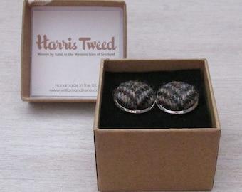 Harris Tweed Woodland Brown Handmade Boxed Cufflinks