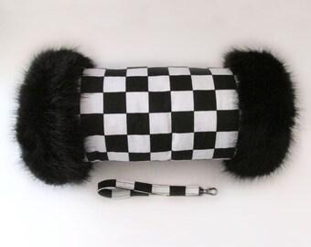 Checkerboard Black & White Fur Trimmed 60's Mod Retro Style Hand Muff