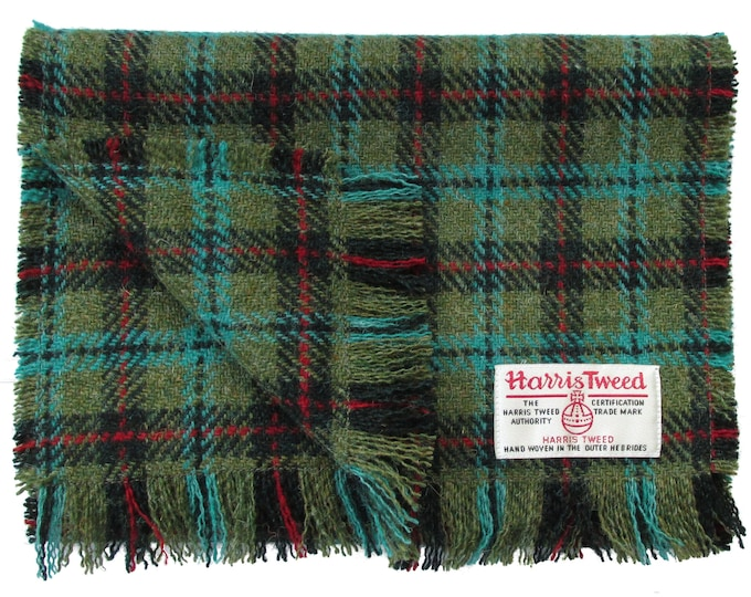 Harris Tweed Lovat & Dark Green with Turquoise and Red Check Luxury Pure Wool Neck Scarf