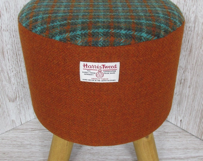 Harris Tweed Burnt Orange with Green Check Hand Covered Footstool