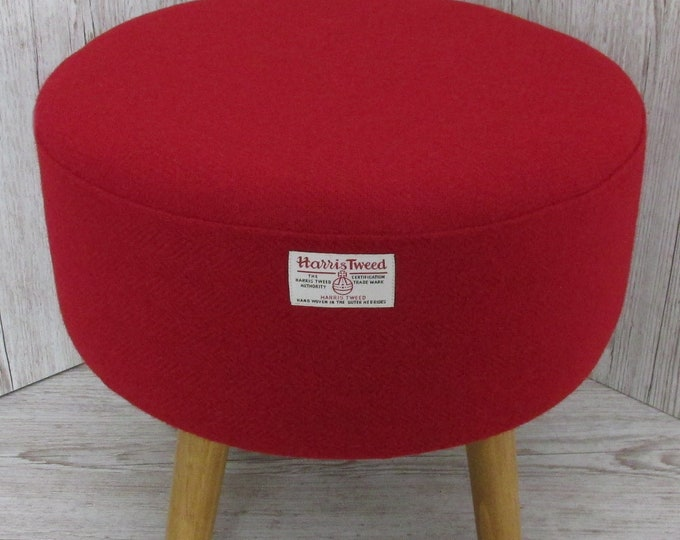Harris Tweed Pillar Box Red Hand Covered Footstool