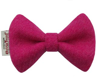 Harris Tweed Fuchsia Pink Designer Dog Bow Tie