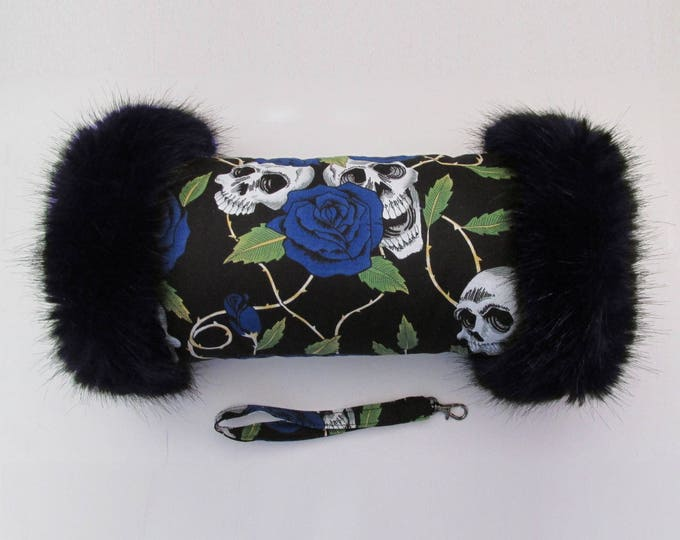 Black & Blue Skulls and Roses Hand Muff with Navy Faux Fur Trim