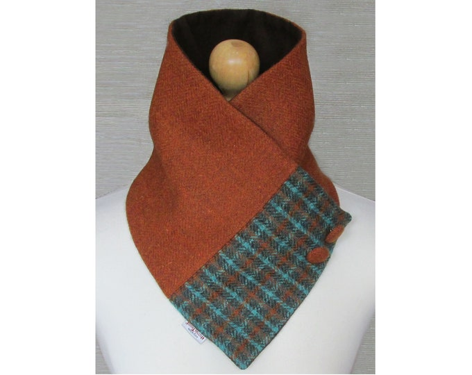 Harris Tweed Burnt Orange with Green Check Wool Neck Warmer Scarf with Button Detail