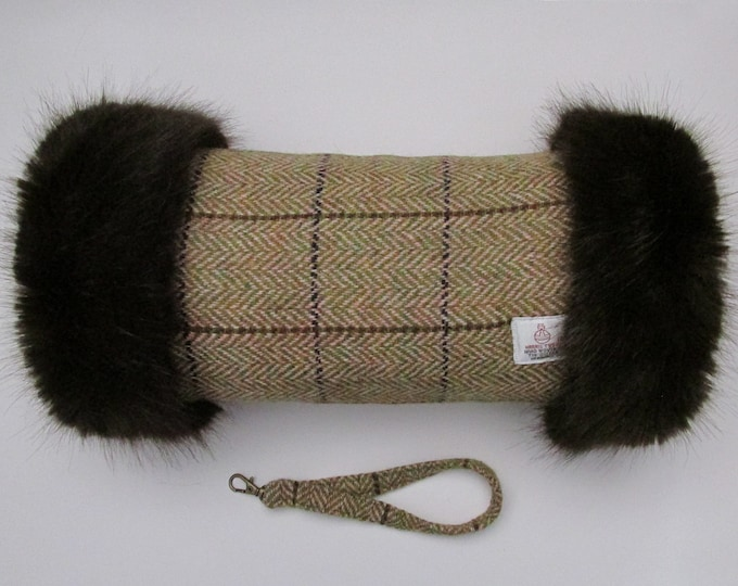 Harris Tweed Apple & Pink Herringbone Hand Muff with Chocolate Faux Fur Trim