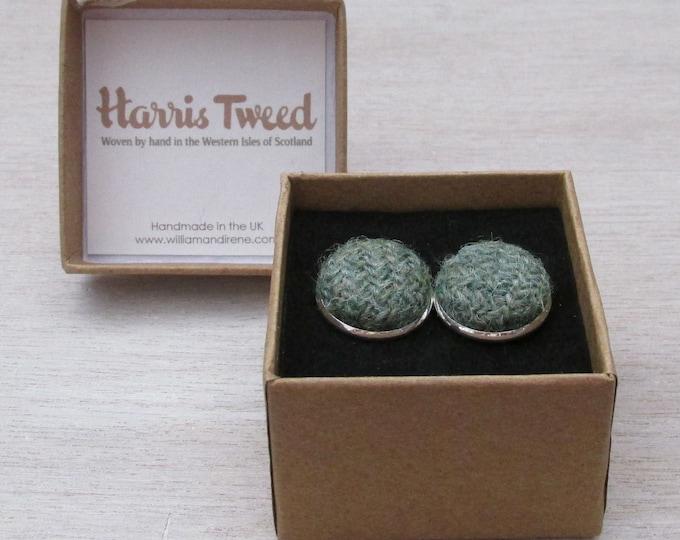 Harris Tweed Sage Green Handmade Boxed Cufflinks