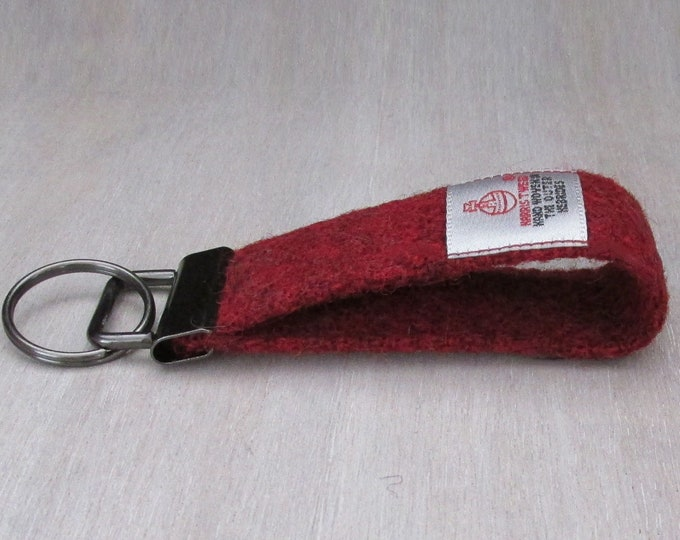 Harris Tweed Pure Wool Wine Red Looped Keyring On Chunky Metal Key Fob