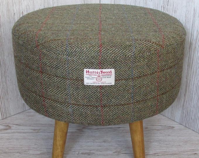 Harris Tweed Large Green & Fawn Herringbone Hand Covered Footstool