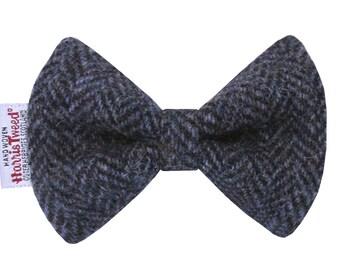 Harris Tweed Blue Glen Herringbone Designer Dog Bow Tie