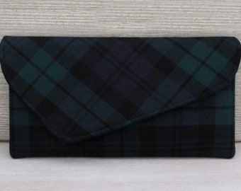 Black Watch Asymmetric Pure Wool Tartan Clutch Bag