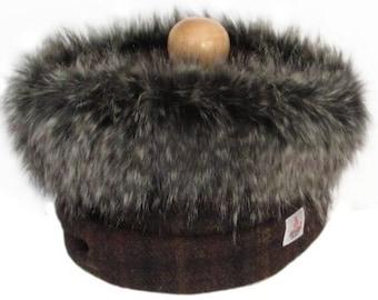 Harris Tweed Brown & Russet Pure Wool Cowl Neck Scarf with Luxury Faux Fur Trim