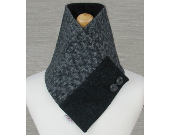 Harris Tweed Grey & Diesel Green Wool Neck Warmer Scarf with Button Detail