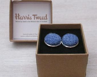 Harris Tweed Denim Blue Handmade Boxed Cufflinks