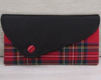 Royal Stewart Asymmetric Red Pure Wool Tartan & Black Satin Clutch Bag