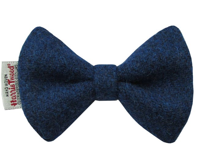 Harris Tweed Windsor Blue Designer Dog Bow Tie