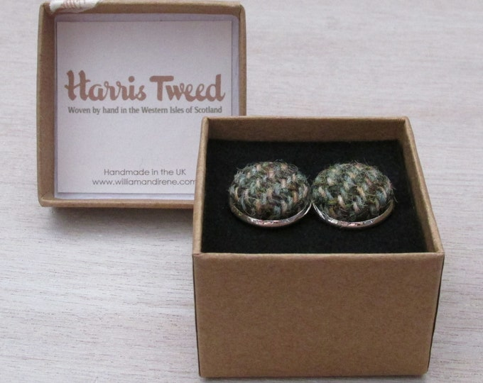 Harris Tweed Green & Fawn Herringbone Handmade Boxed Cufflinks