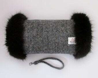 Harris Tweed Grey Herringbone Hand Muff with Black Faux Fur Trim