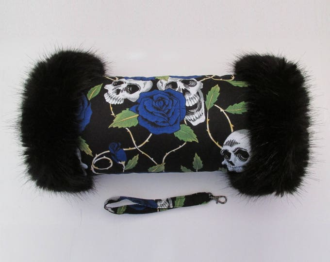 Black & Blue Skulls and Roses Hand Muff with Black Faux Fur Trim