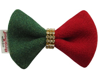 Harris Tweed Limited Edition Luxury Christmas Diamante Designer Dog Bow Tie