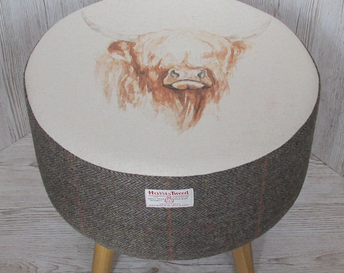 Harris Tweed Large Woodland Herringbone Footstool with Highland Cow Top
