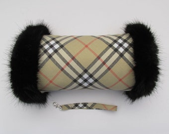 Beige Check Hand Muff with Black Faux Fur Trim