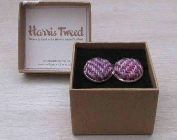 Harris Tweed Heather Purple & Pink Herringbone Handmade Boxed Cufflinks