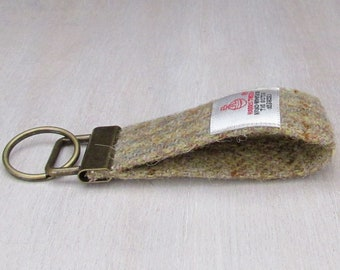 Harris Tweed Beige Tartan Pure Wool Keyring On Chunky Metal Key Fob