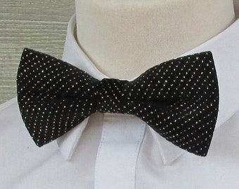 Black Velvet & Gold Sparkle Luxury Bow Tie
