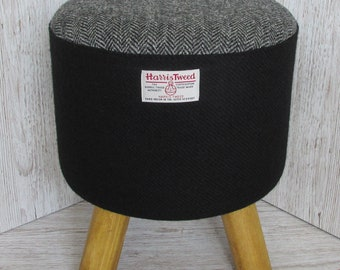 Harris Tweed Jet Black with Grey Herringbone Hand Covered Footstool