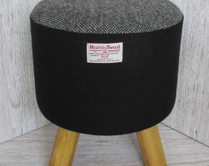 Harris Tweed Jet Black with Grey Herringbone Hand Covered Footstool