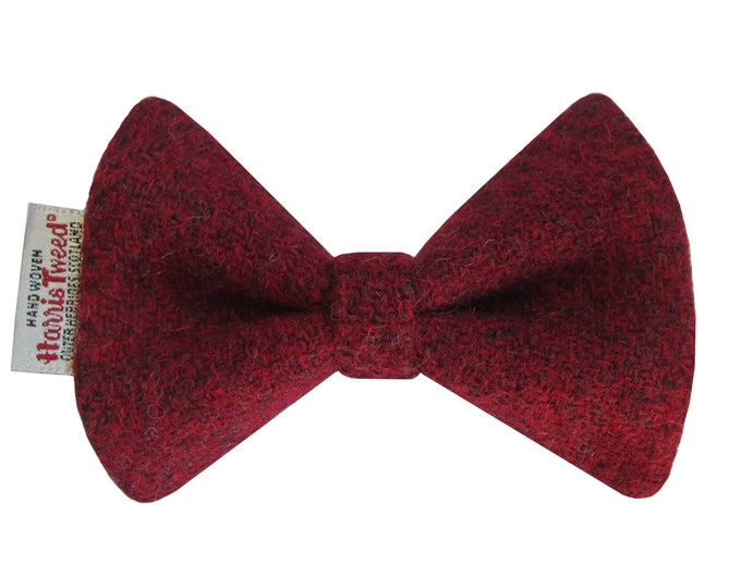 Harris Tweed Wine Red Designer Dog Bow Tie