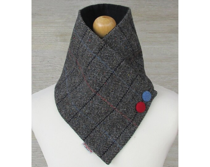 Harris Tweed Grey Herringbone with Checks & Flecks Wool Neck Warmer Scarf with Button Detail