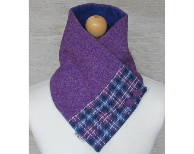 Harris Tweed Heather & Blue Tartan Wool Neck Warmer Scarf with Button Detail
