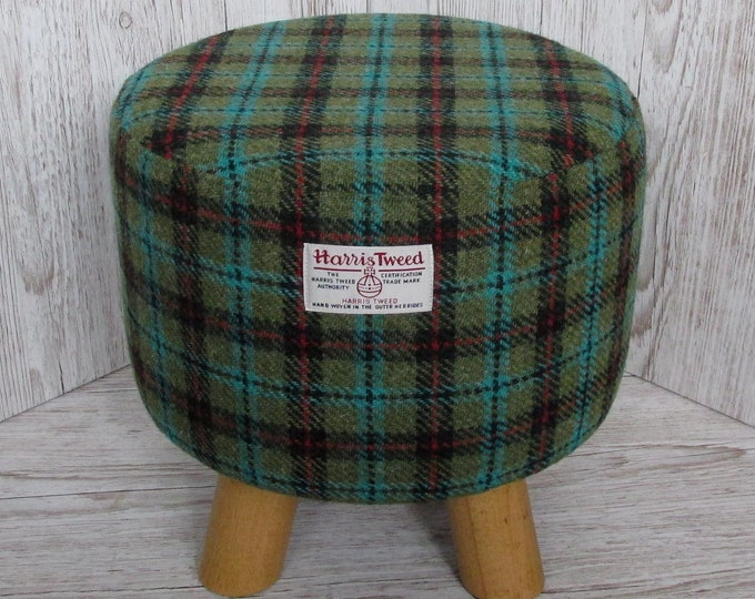 Harris Tweed Lovat & Dark Green with Turquoise and Red Check Hand Covered Footstool