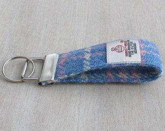 Harris Tweed Blue Pink & White Tartan Check Pure Wool Looped Keyring On Chunky Metal Key Fob
