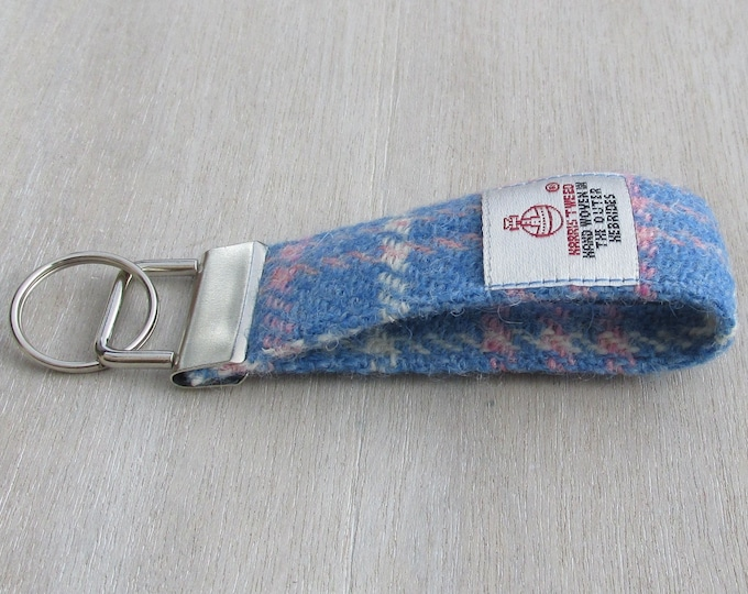 Harris Tweed Blue Pink & White Tartan Check Pure Wool Looped Keyring On Chunky Metal Key Fob