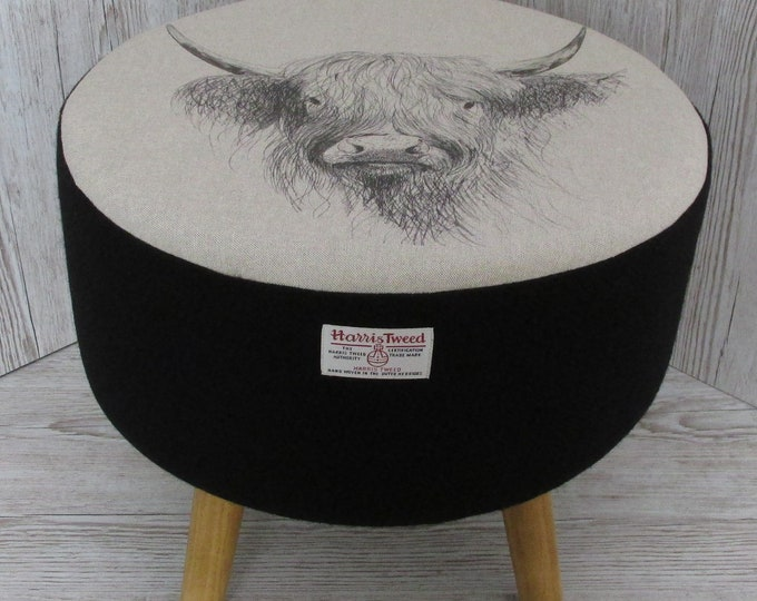 Harris Tweed Large Jet Black Hand Covered Footstool with Highland Cow Sketch Top