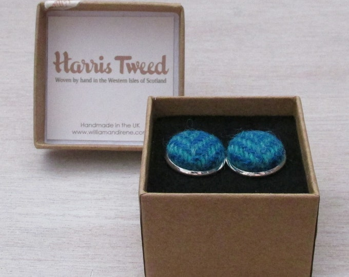Harris Tweed Turquoise Blue & Sea Green Herringbone Handmade Boxed Cufflinks