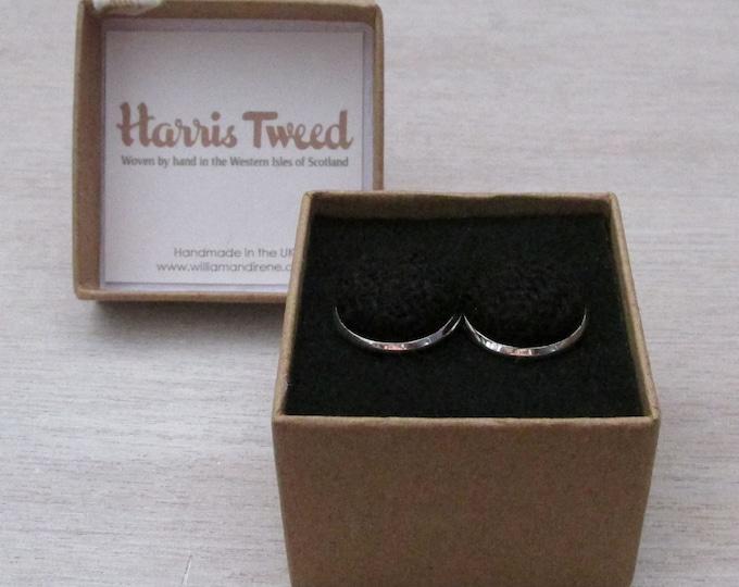 Harris Tweed Jet Black Handmade Boxed Cufflinks