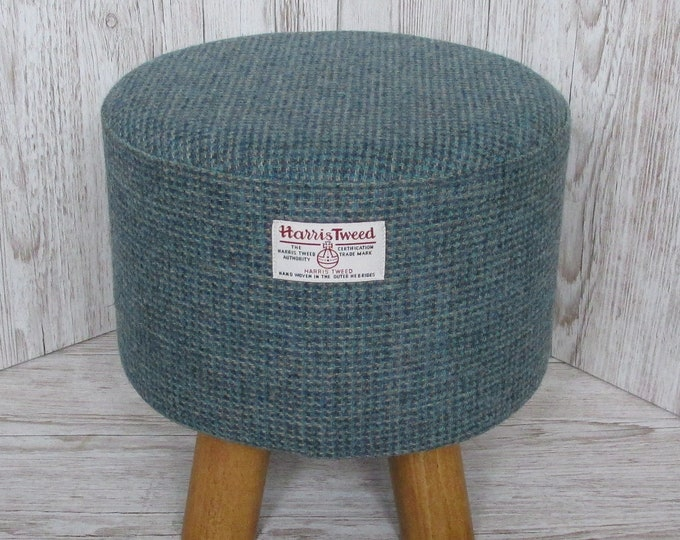 Harris Tweed Blue & Fawn Twill Hand Covered Footstool