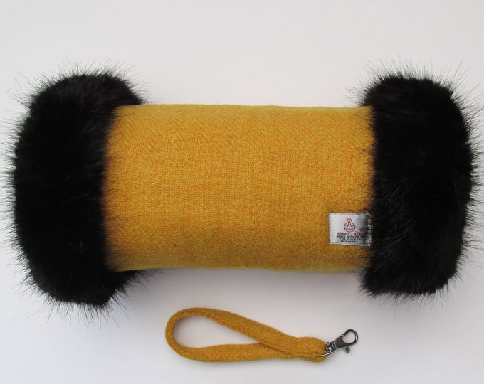 Harris Tweed Mustard Hand Muff with Black Faux Fur Trim