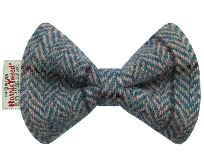 Harris Tweed Blue & Pink Herringbone Designer Dog Bow Tie